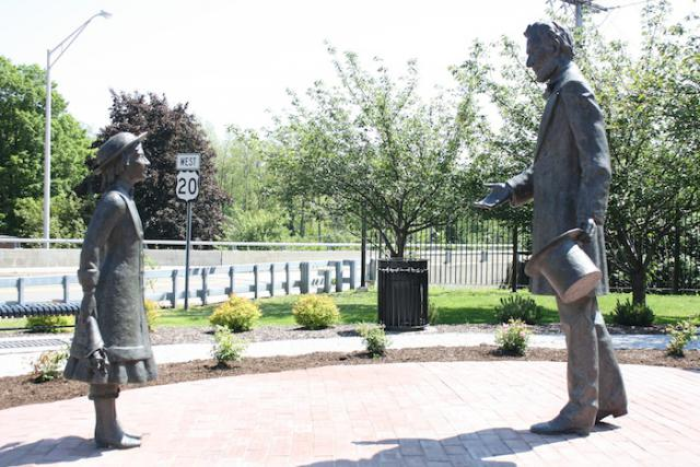 Two statues in Westfield depict the meeting between Bedell and president-elect Abraham Lincoln